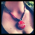 Kimono Necklace/Pendant -  Blood Red and Black Florals
