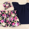 Skirt - Floral - Navy - Pink - Yellow - Retro - Cotton - Sizes 1-5