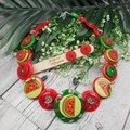 Watermelon Crush - Button  Necklace - Jewellery - Earrings