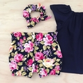 Bubble Shorties - Navy Floral - Bloomers - Retro - Girls - Sizes 000-2