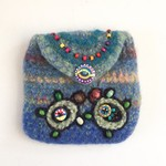 Unique colourful felt coin/card purse with embroidered beaded turtle motif.