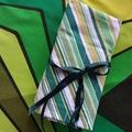 Crochet Hook Handy Wrap-Retro green/yellow/white stripes