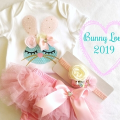 Baby Girls Easter Clothing Set. Bunny Onesie, Bloomers & Headband