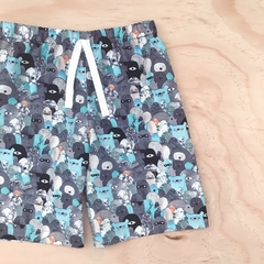 Size 3  - Shorts - Little Monsters - Blue - Grey