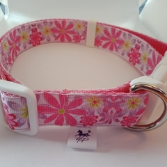Large size pink and purple flower adjustable dog collar