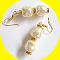 Pearl, rhinestone earrings