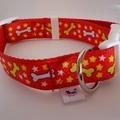 Medium size red dog bone pattern adjustable dog collar