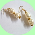 Pearl, rhinestone earrings