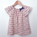 Smock Top - Sea Shells - Pink - Navy - Organic Cotton - Sizes 3-6