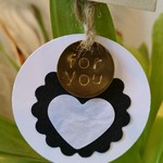 5 x Hand-Stamped Round Gold Gift Tags - For You