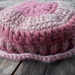 crocheted child's brimmed hat made from pure wool. Pink and mauve ON SALE!!!