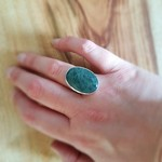 Buddstone silver ring, medium, Size AU P