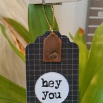 5 x Hand-Stamped Copper Gift Tags - Hey You XO