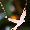 Flying Bird Necklace, Copper Pendant and Chain