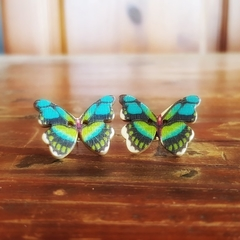 Vintage wooden button butterfly earrings green and blue print