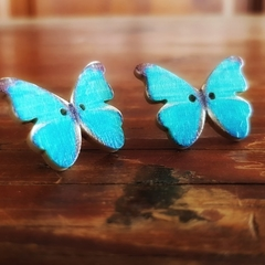 Vintage wooden button butterfly earrings blue print