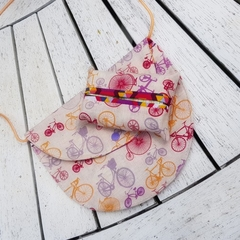 Pink purple orange bicycle print shoulder back with matching tissue holder
