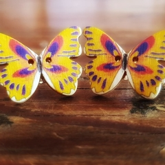 Vintage wooden button butterfly earrings yellow, red and blue print
