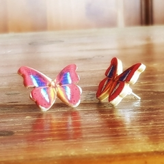 Vintage wooden button butterfly earrings red, blue and orange print