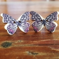 Vintage wooden button butterfly earrings black and red print