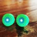 Quirky kiwi fruit studded earrings