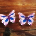 Vintage wooden button butterfly earrings blue and red