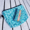 blue and white print Chevron print zipper pouch with coordinating tissue holder