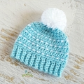 NEWBORN Aqua & White Crocheted Baby Beanie with Pompom