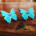 Vintage wooden button butterfly earrings blue print