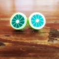 Quirky lime fruit studded earrings