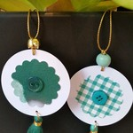 2 x Gift Tags with Tassels, Beads & Buttons - Greens