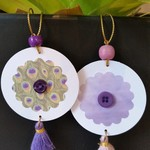 2 x Gift Tags with Tassels, Beads & Buttons - Purples