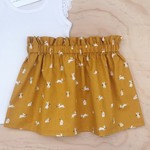 Choose your size 6-10  -  Skirt - Mustard Bunnies - Rabbits - Easter - Girls