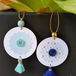 2 x Gift Tags with Tassels, Beads & Buttons - Blues