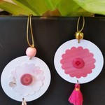 2 x Gift Tags with Tassels, Beads & Buttons - Pinks