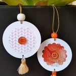 2 x Gift Tags with Tassels, Beads & Buttons - Oranges