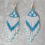 blue & white bead weaved long earrings
