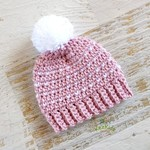 NEWBORN Dusty Pink & White Crocheted Baby Beanie with Pompom