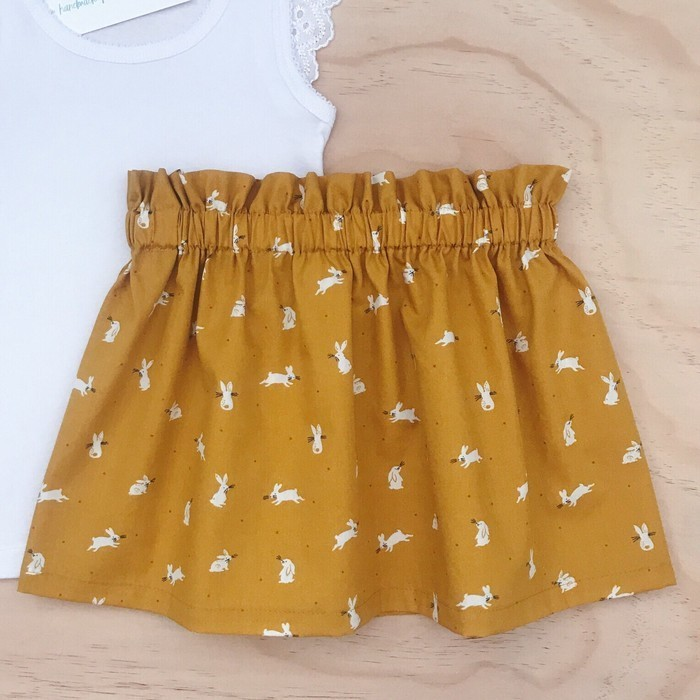 9125dd5151a4 Choose your size 6-10 - Skirt - Mustard Bunnies - Rabbits - Easter - Girls