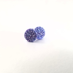Polmer clay stud earring with surgical steel back and nut back.