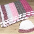 Handmade crochet baby blanket plus baby beanie