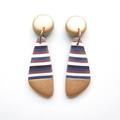 Metallic gold stripe drop polymer clay earrings
