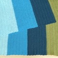 Handmade crochet colour block baby blanket ( Blue/ green)