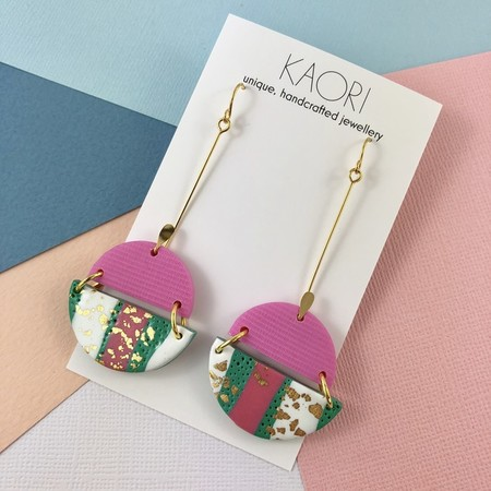 Polymer clay earrings, statement  earrings in green, pink and white