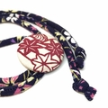 Kimono Strand Necklace - Candy and Navy Blue Florals
