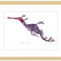 Weedy Seadragon lino cut print / Seahorse / Fish lino cut print