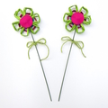 Floral Wired Picks Paper Raffia Blossom Butterfly Button Vase Decoration