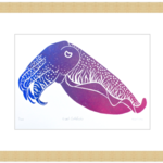 Giant Cuttlefish lino cut print / Marine Animal lino cut print