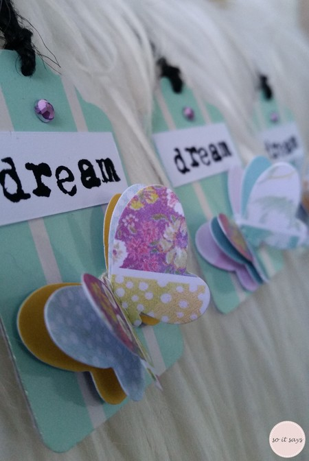 3 x 'Dream' Gift Tags with Butterfly