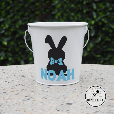 White Easter Bucket - Egg Hunting  - Personalised Tin